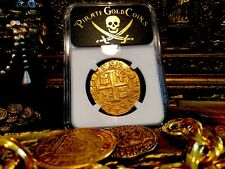 "PERU 8 ESCUDOS 1702 ""1715 FLEET SHIPWRECK"" NGC 63 PIRATE GOLD COINS TREASURE COB"