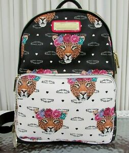 Betsey Johnson Cheetah Leopard head Backpack Large Travel School Book Bag NWT
