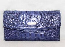 BRAHMIN Checkbook Wallet Turkish Blue Croco Embossed Leather Snap Close