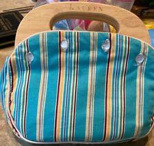 Ralph Lauren  Bag Wood Handles Purse Handbag Clutch Vintage Reversible to Blacj