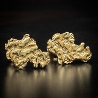 Men's Top Quality Vermeil 925 Sterling Silver 14K Gold Nugget Stud Earrings