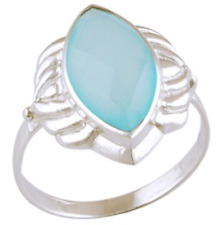 925 Sterling Silver 3.7 grams w/ Chalcedony Aqua Marquis Cut Statement Ring Sz 9