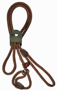 "HI-CRAFT Dog Slip Lead 10mm Nylon Mountain Rope BROWN 60"" Small & Medium Dogs"