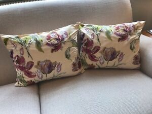 Pair of Laura Ashley Embroidered Gosford Tulip Cushion Covers (40cms x 50cms)