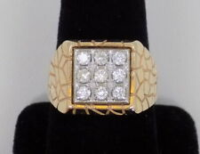 Cluster Ring ~ 10 3/4 ~ 12.5 Gr Men's 14k Solid Yellow Gold Nugget Style Diamond