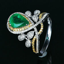 9*6.5MM Pear Cut 2.17TCW Natural Emerald Diamond Engagement Ring 14K White Gold