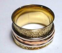 Cool! Spinner Ring Copper Brass Bronze .925 Sterling Silver Ring Size 8