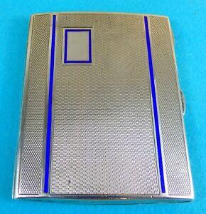 Superb Art Deco Sterling Silver Enamel Cigarette Case Engine Turned Chester 1933
