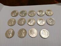 Lotto 14 monete 500 lire argento 1960 - 1966 tra cui Dante e Centenario 154 gr