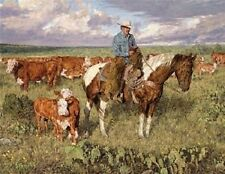 Western Art Print Titled Vespers by Bradley Schmehl Cowboy on Horse Cattle Bible