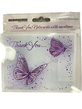 10x Thank You Cards with metallic  Purple butterflies
