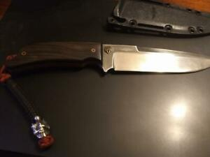 Ka-Bar Jarosz Turok Fixed Blade Knife with custom Ebony Wood handle & lanyad