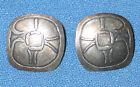 Sterling Silver Rectangular Earrings w/Oriental Motif Signed Ed Levin