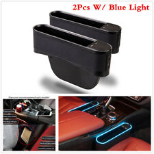 Car Seat Gap Storage Box Organizer Coin W/ 4 USB+Blue Light For Left+Right Side