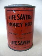 RARE ANTIQUE LIFESAVERS LOLLY TIN MONEY BOX - EX ARMY TIN ?  AUSTRALIAN MADE