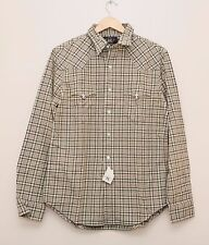 NEW Ralph Lauren RRL DOUBLE RL Men's Gray Check Cotton Western Shirt L