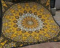 Indian Yellow Star Mandala Bohemian New Wall Hanging Queen Size Cotton Tapestry