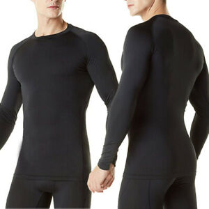 Mens Compression Underwear Under Base Layer Top Tight Long Sleeve T-Shirt Black