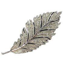 Brooch Pin Silver Rhodium Plate Vtg Crown Trifari Pave Crystal Rhinestone Leaf