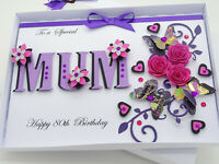 PERSONALISED Handmade Mothers Day Card MUM Birthday Any Age LUXURY Gift Box 3D