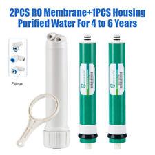2Pcs 50GPD RO Reverse Osmosis Membrane Water Filter Replace + 1 Housing 4~6 year