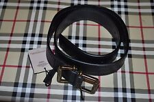 NWT Beautiful Designer BURBERRY Black Leather Gold Buckle Belt Size 30