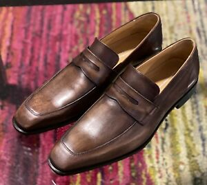 SAKS FIFTH AVENUE Made in Italy Brown Leather Italian Loafers 11.5 M NWT $300