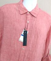 Mens Perry Ellis Red Linen Long Sleeve Shirt-  Size Big 2X -NWT