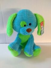 "Kid Connection Blue Green Stuffed Dog 10"" Plush Ribbed Soft NWT"