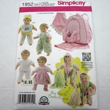 """Simplicity Baby Doll Clothes Pattern for 15"""" Dolls and Carrier Model 1952 Uncut"""