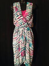 New!! Alberta Ferretti Chiffon Pleated Knee-Length Cocktail Dress Size 12