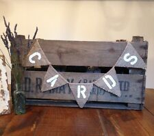 Hessian Burlap Cards Rustic Vintage Wedding Banner Mini Bunting
