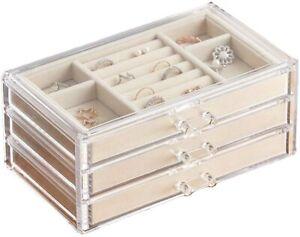 Velvet Jewellery Box Clear Organiser 3 Drawers - FREE SHIPPING