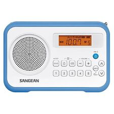 Sangean Pr-D18 Am/Fm/Clock 10-Station Presets Portable Digital Radio, White-Blue