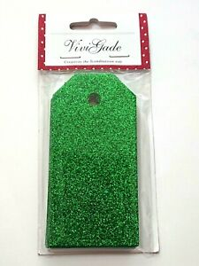 Pack of 15 - Green Luxury Glitter Gift Tags - 5cm x 10cm 300gsm Craft Gift Wrap