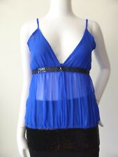 ZHOUK Blue Silk AND Black Sequin Camisole Style Top Size 10 US 6  rrp $249.00
