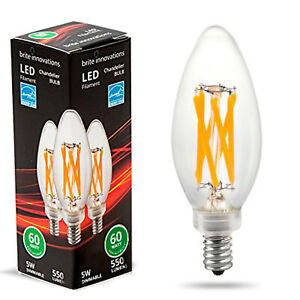 Brite Innovations LED Chandelier Bulb 60 Watt Equivalent Dimmable Warm White