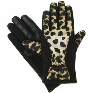 ISOTONER Black Leopard Matrix Fleece Nylon smarTouch THERMAflex Gloves S XS