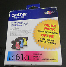 BROTHER LC61CL - CYAN MAGENTA YELLOW - 3 INK CARTRIDGES - LC613PKS - EXPIRED