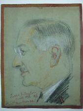 dessin signé sacha rubinstein portrait homme montparnasse la coupole paris 1933