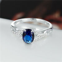 Women 925 Silver Plated Crystal Engagement Wedding Ring Fashion Size 7&8 Jewelry