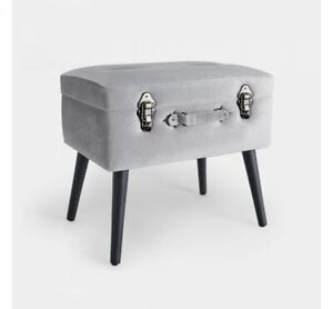 Silver Storage Trunk Stool
