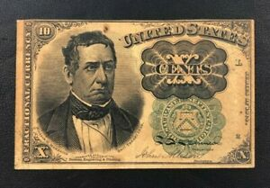 1874-1876 5th Issue 10 Cent Fractional Currency Note Green Seal