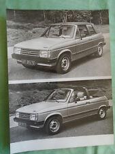 Talbot Samba Cabriolet Press Photo brochure 1982