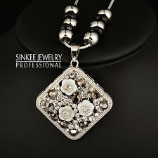 High Quality White Shell Flowers Square Pendant Long Necklace For Women My381
