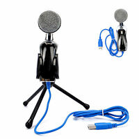 USB Professional Condenser Microphone Wired Professional Microphone Black for PC