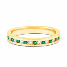 9 Carat Yellow Gold Emerald Eternity Fine Rings