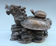 China Ancient Brass Copper Dragon Tortoise Turtle Fengshui Animal Wealth Statue
