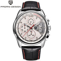 PAGANI DESIGN Date Leather Band Waterproof Men Military Quartz Wrist Watch Gift
