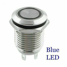 12mm 2A/36VDC Car Boat Blue LED Metal Push Button Momentary Waterproof Switch AU